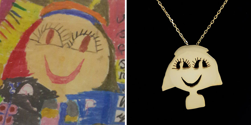 turning kids art to jewellery